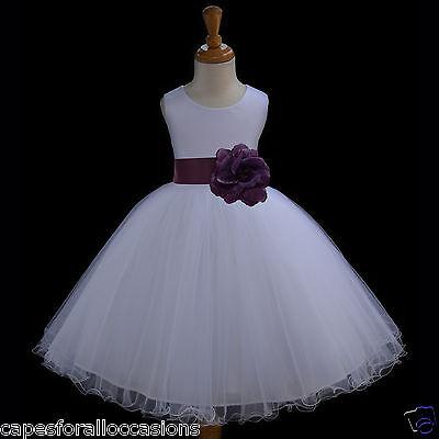 WHITE PAGEANT FLOWER GIRL DRESS WEDDING 12-18m 2 4/5T 6 6X 7 8 9 10 11 12 829cn