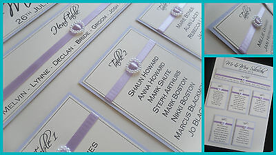 Large A2 Handmade Personalised Ribbon & Pearl Heart Wedding Table Seating Plan