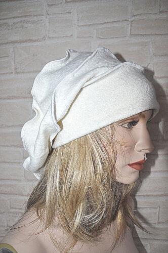 MYO-LAGENLOOK gekochte Wolle WELLEN-KAPPE-MÜTZE BEANIE ECRÙ