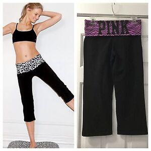 bc41fef0ad05e NEW Victoria's Secret PINK Black Cropped Yoga Pants Leggings Size ...