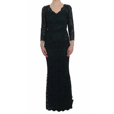 NEW $5800 DOLCE & GABBANA Dress Green Lace Sheath Long Gown Ball IT38 / US4 / XS
