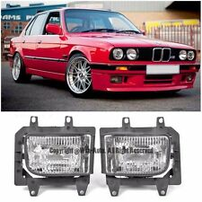 For 85-93 BMW E30 3-Series Front Bumper Crystal Clear Fog Light Lamps