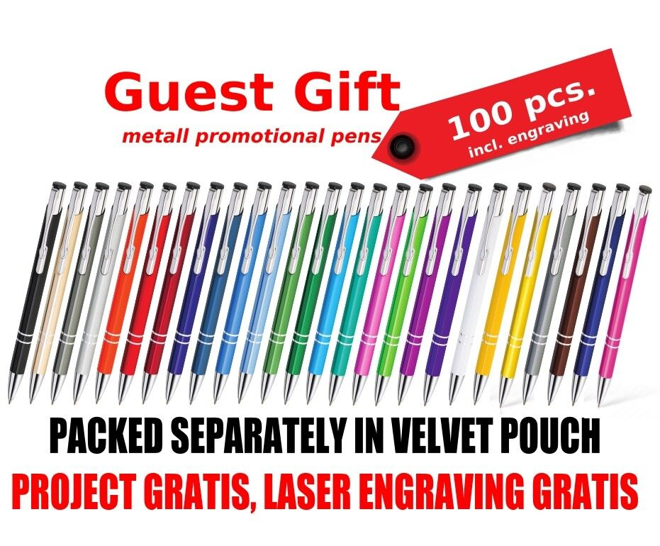 100 pcs engraved wedding Pens Favours Personalised wedding gift in velevet pouch
