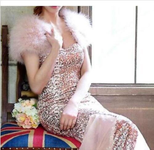 Real Ostrich Feather furry Fur waistcoat bolero sleeveless wedding bridal K66