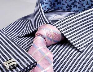 Navy-Blue-Black-Herringbone-Twill-Stripe-Formal-Business-Dress-Shirt-Luxury-Boss