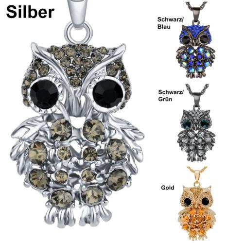 Damen Halskette Anhänger Eule Uhu Lang Zirkonia Geschenk Silber Gold Blau Grün