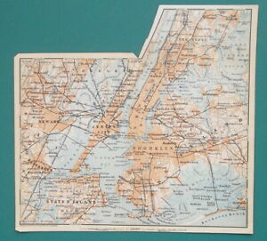 NEW-YORK-CITY-amp-Suburbs-Bronx-to-Staten-Island-1909-MAP-8x7-5-034-20-x-19-cm