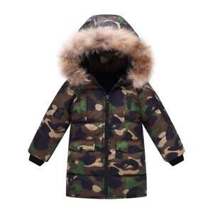 0c34a690abd0 Boys Kids Camouflage Winter Cotton Padded Long Parka Jacket Fur ...