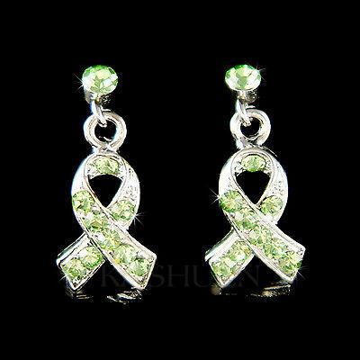 ~Lymphoma Lyme Newtown STD Awareness Ribbon made with Swarovski Crystal  Earrings | eBay