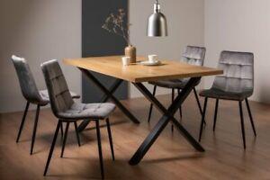 Ramsay Oak Effect 6 Seat Table (X Leg) & 4 Mondrian Grey Velvet Fabric Chairs