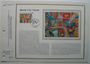 BRAM-VAN-VELDE-Feuillet-CEF-Timbre-1er-jour-SOIE-1987