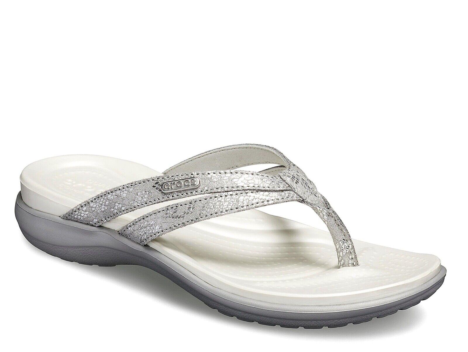 Crocs NEW Capri Silber damen strappy comfort sandals flip flops UK Größe 3-9