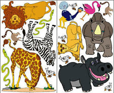 SAFARI jungle zoo animals wall stickers 17 decals giraffe hippo flamingo lions