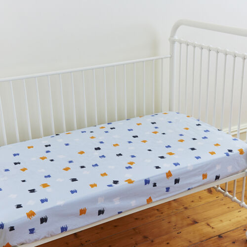 Boys Blue Fitted Cotton Cot Sheet s Collection Linens N Things