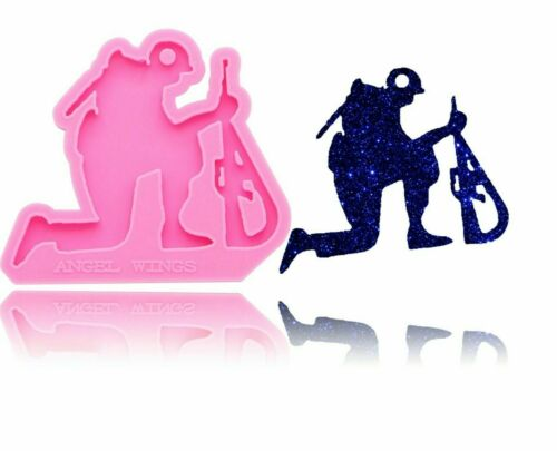 Fallen Soldier and Gun Shape Shiny Silicone Mould DIY Epoxy Resin Craft Mold
