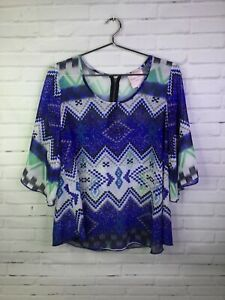 Romeo-amp-Juliet-Couture-Womens-Size-M-Blue-Tunic-Peasant-Boho-Blouse-Top-Bell-Slv
