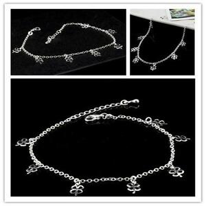 Handmade-925-Solid-Sterling-Silver-Charms-Chain-Anklet-Beach-Foot-Jewelry-1PcsY