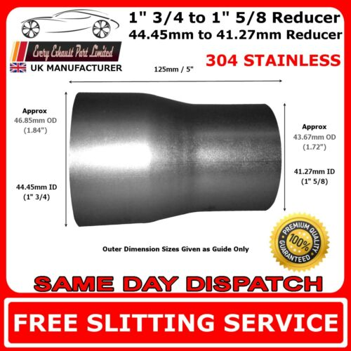 """1/"""" 3//4 to 1"""" 5//8 Stainless Tapered Standard Exhaust Reducer Connector Pipe Tube"""