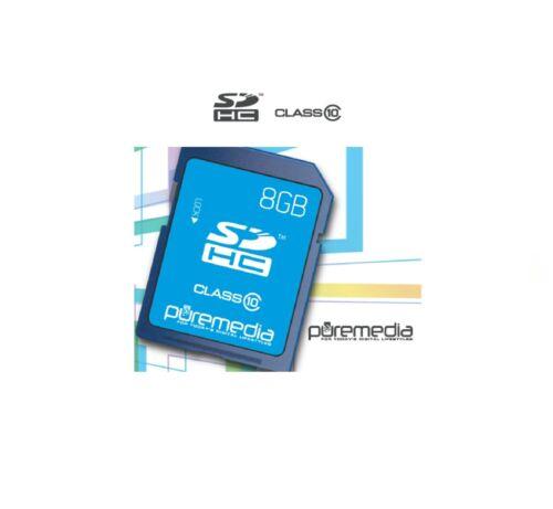 Nuevo Puremedia 8GB SD Tarjeta de memoria SDHC Clase 10 para Cámara//Laptop//Videocámara HC