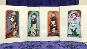 DISNEY HAUNTED MANSION DELUXE MATTED PRINTS X 4 STRETCHING ROOM MISS MINDY NEW