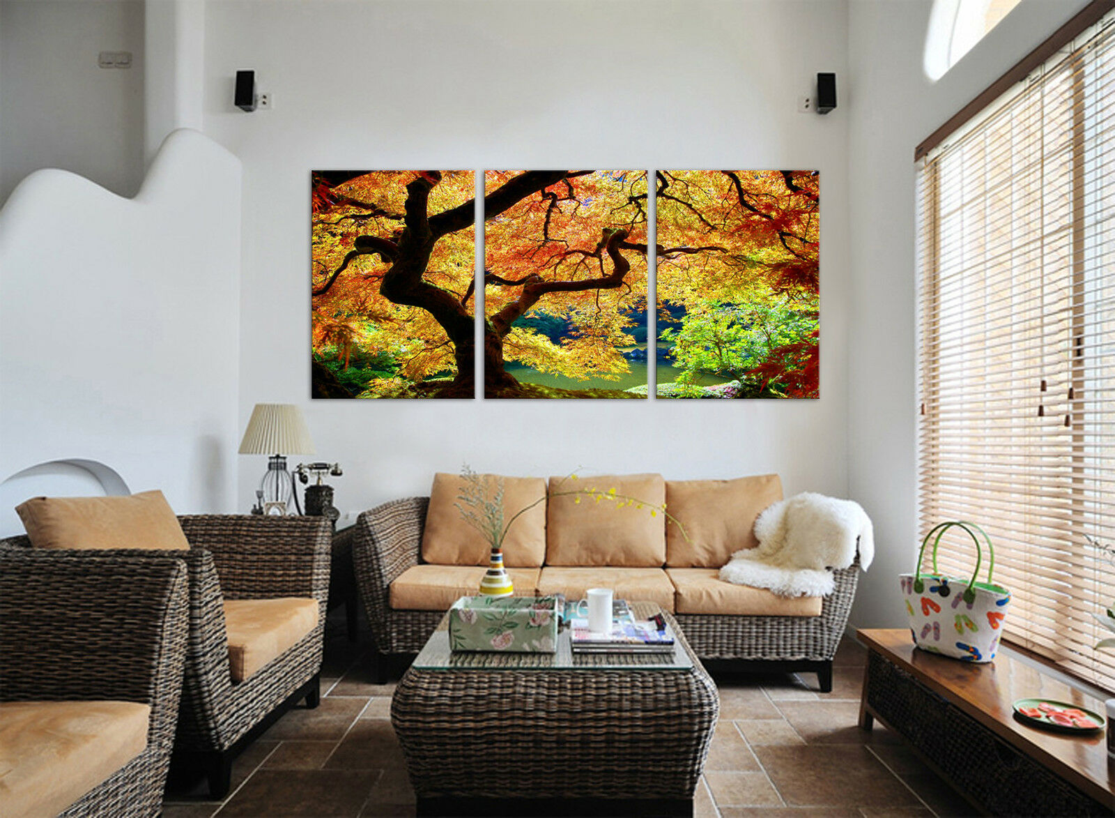 Fall Janese Maple Tree mounted picture on fiberboard canvas betterThan stretched