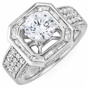 Redondo-y-Corte-Baguette-Diamante-3-00-Kilates-18-Ct-Anillo-Oro-Compromiso