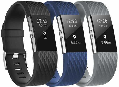 3 Pack Soft Replacement Wristband For Fitbit Charge 2 Band Silicone Large USA