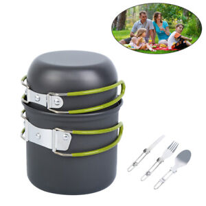 Camping Cookware Mess Kit Outdoor Hiking Picnic Cooking Pot Pan Convenient Set