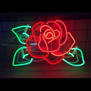 17 X14 Rose Flower Handcraft Acrylic Beer Neon Light Sign Beer Bar