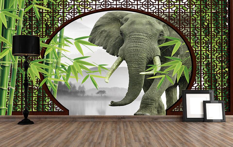 3D Bambus - Elefanten 4212 Fototapeten Wandbild Fototapete BildTapete Familie