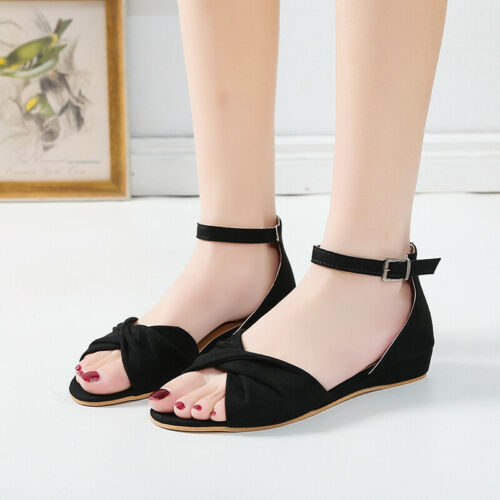 New Womens Ladies Flatform Espadrille Sandals Wedge Ankle Buckle Open Toe Shoes