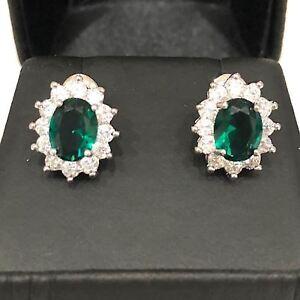 Handmade-2-Ct-Oval-Green-Emerald-Halo-Stud-Earrings-Women-Wedding-Jewelry-Gift