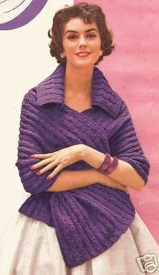 Vintage Knitted Stole Shawl Wrap collar knit pattern