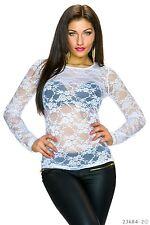 Sexy Damen Netz Shirt Pullover Sweatshirt langarm Blumen Muster Weiß 34 36 38