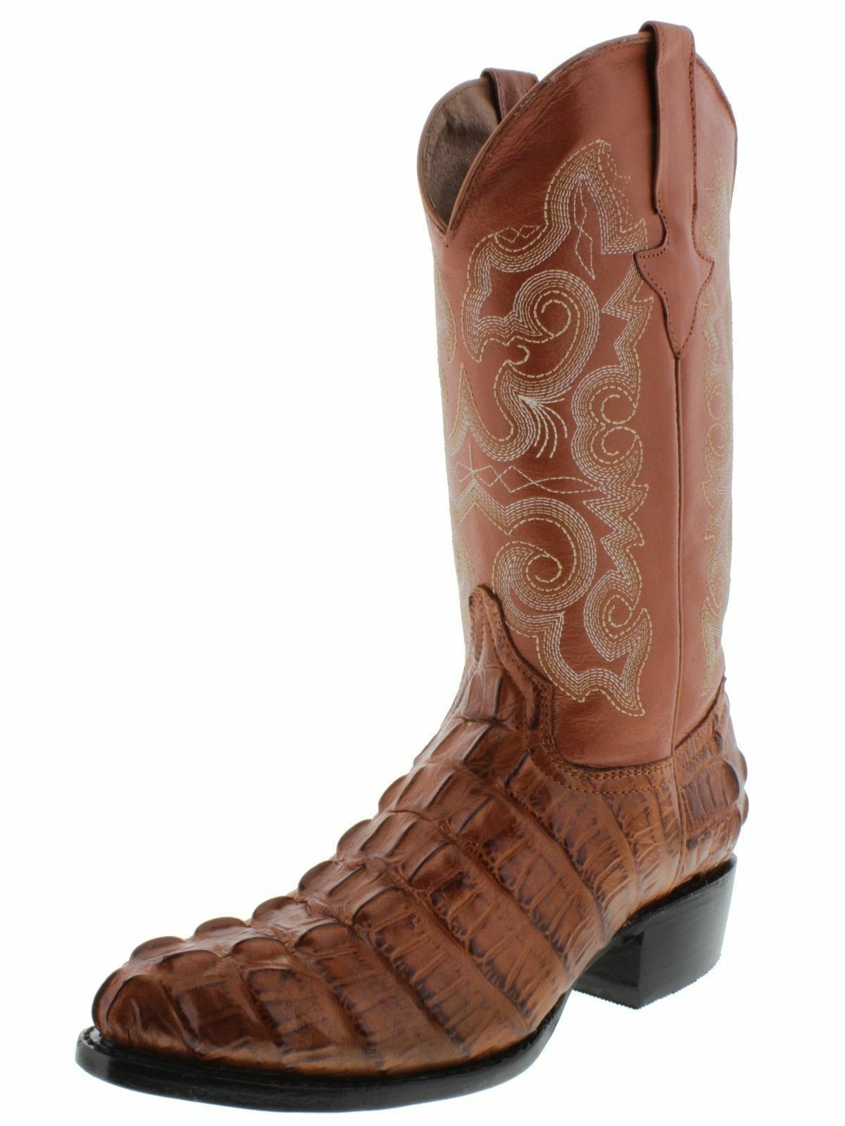 Men's New Leather Crocodile Tail Design Western Cowboy Rounded Boots Cognac