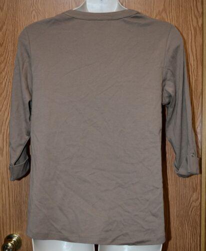 Womens Chestnut Brown Karen Scott 3//4 Sleeve Henley Shirt Size 1X NWT NEW