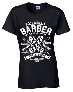 Rockabilly Barbier T-Shirt Damen S-2XL Laden Hipster Bart Frisches Style