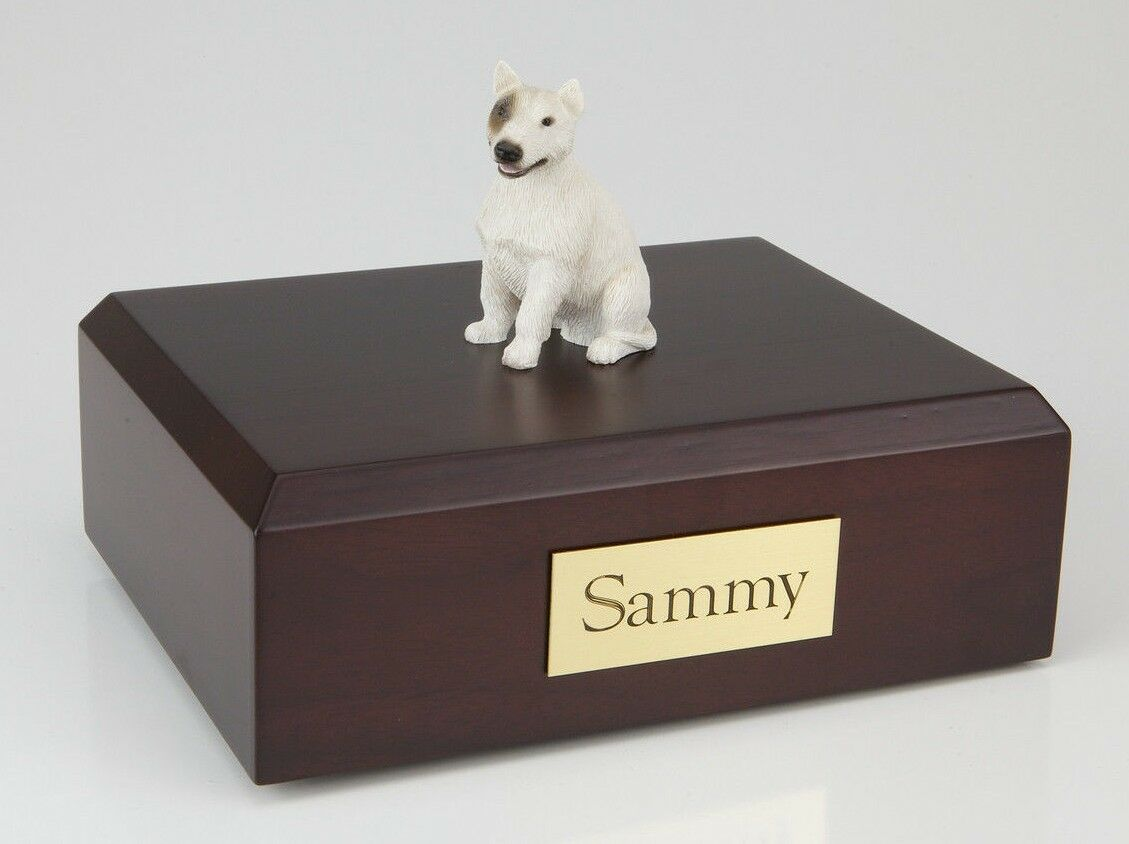 Bull Terrier, bianca Pet Funeral Cremation Urn Avail in 3 Diff Colores & 4 Dimensiones