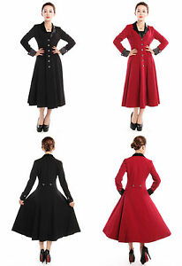 Gothic-Coat-Victorian-Vintage-Gypsy-Long-Fitted-Frock-Style-Coat-Black-Red-N76