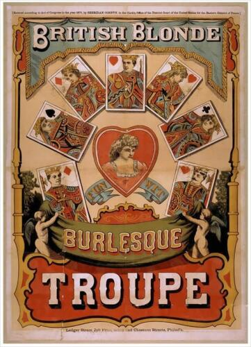 A3 British Blonde Burlesque Troupe Illustrated c 1870Vintage PosterA1 A2