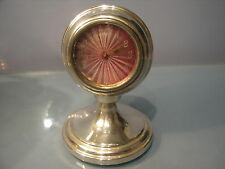 Art deco Chester silver clock, pink guiloche face serviced & working 1927