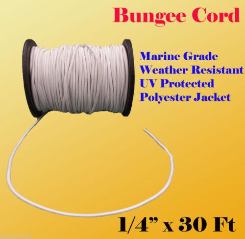 "10 Yard Premium Marine Grade Bungee Shock Stretch Cord UV White 1//4/"" x 30 Ft"