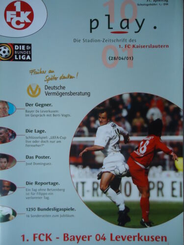 Programm Bundesliga 2000//01 1 FC Kaiserslautern Bayer Leverkusen
