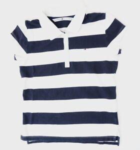 Tommy-Hilfiger-Poloshirt-Damen-Gr-S-blau-uni-Pique-S1218