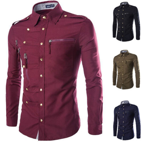 Men/'s Luxury Stylish Slim Fit Smart Dress Shirts Long Sleeve Casual Shirts Tops