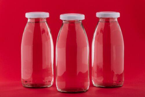 Milchflasche 250 ml Glasflasche Saftflasche Smoothie Einmachglas mit Deckel Neu
