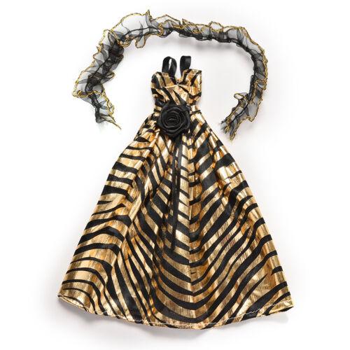 Unique Zebra-Streifen Golden und Fad Luxus gewachsen Kleid für  s mit Scha^