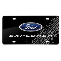 Ford Explorer Double Logo Tire Mark Graphic Black Acrylic License Plate on sale