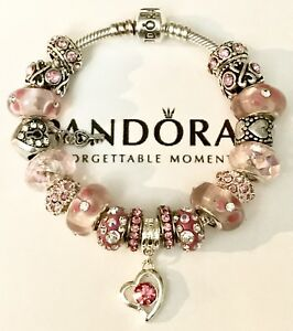 12881d2d52f Image is loading Authentic-Pandora-Sterling-Silver-Charm-Bracelet-With-Pink-