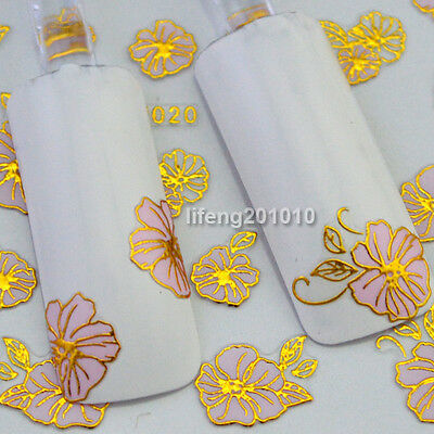 3D Adhesive Nail Art Stickers Decals Decoration Tool Hot stamping Pink Flowers